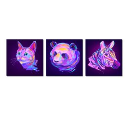 Wholesale Zebra Wall Decorations - Cat,Panda and Zebra Abstract Watercolor Painting Wall Decoration Digital Art Image Printed on Canvas 3pcs set Unframed