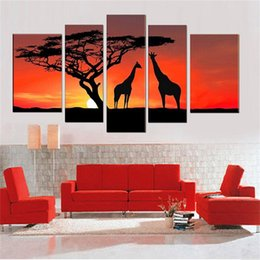 Wholesale Pictures Making Love - 100% Hand made forest tree High Q. giraffe's intimate love Abstract landscape Wall Decor Oil Painting on canvas 5pcs set
