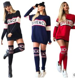 Wholesale Oversized Jumpers - 2017 Fashion Winter Dress Womens Loose Knitted Oversized Jumper Tops Dress Fashion printing Long-sleeved club bandage dress