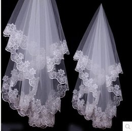 Wholesale Embroidery For Dress Accessory - Elegant Wedding Veils White Lvory Red Lace Wedding Bridal Accessories 1.5m for Wedding Dress Embroidery Edge New