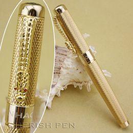 "Wholesale Dragon Pen Ball - Wholesale Jinhao 1200 Golden Dragon Clip Ballpoint Roller Ball Ball Point Rollerball Pen ""Chong HWA Sprit"" Free Shipping Pens"