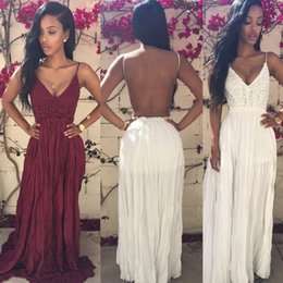 Wholesale Lace Maxi Dress Sale - 2016 In Stock A line Evening Dress Spaghetti V Neck Backless A Line Lace and Chiffon Floor Length Prom Party Dress Cheap Hot Sale
