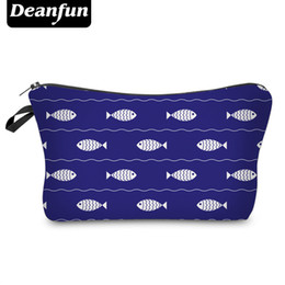 Wholesale Fish Gift Bags - Wholesale- Deanfun Cosmetic Bags 3D Printing Vintage Fish Zipper Travel Necessary For Women Makeup Polyester 2017 Hot Sale Gift 50782