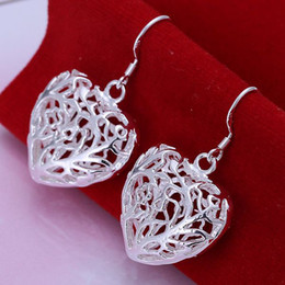 Wholesale Drop Coral Earring - Sterling Silver 925 Jewelry 925 Sterling Silver Carven Branch Coral Heart Silver Earrings Dangles Drops Earrings E075