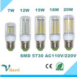 Wholesale G9 Energy Saving Bulbs - SMD5730 LED corn light E27 GU10 B22 E14 G9 corn bulb 5W 7W 9W 12W 15W 220V 110V 360 angle Energy saving light