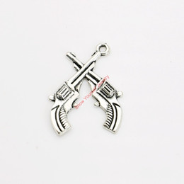 Wholesale Craft Guns - 20pcs Antique Silver Plated Double Gun Charm Pendants for Bracelet Necklace Jewelry Making DIY Handmade Craft 29x23mm