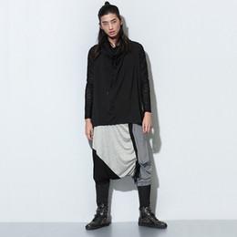 2019 плюс размер брюки танца хип-хопа Оптовая продажа-мужская мода плюс размер гарем брюки падение промежность лоскутное танец хип-хоп панк стиль низкой промежность брюки для мужчин дешево плюс размер брюки танца хип-хопа