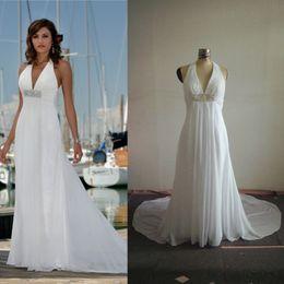 Wholesale China Free Photo - White Beach Chiffon Wedding Dresses Deep V Neck Halter Low Back Beaded Empire China Factory Custom Make Free Shipping