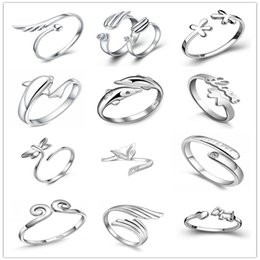 Wholesale Womens Wings - 925 Sterling Silver Jewerly Rings Dolphins Wings Of The Angel Love Fox Opening Adjustable Rings Womens Rings