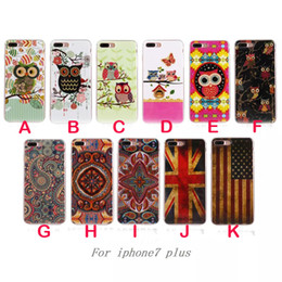 Wholesale flag skin - Lovely Case For Iphone 7 I7 Iphone7 7Plus Bling Glossy Owl Soft TPU Silicone Case Cartoon Owl Flag Flower TPU IMD Skin Cover