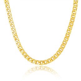 Wholesale Perfect Strings - Classic Cuban Link Chain Necklace 18K Gold Rose Gold Platinum Plated Fashion Men Jewelry Hip Hop Perfect Accessories Party Gift