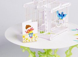 Wholesale Happy Crafts - Hot Birdcage Laser Cut 3D pop up paper laser cut crafts display custom Handmade Greeting Cards Happy Birthday Gifts Postcards