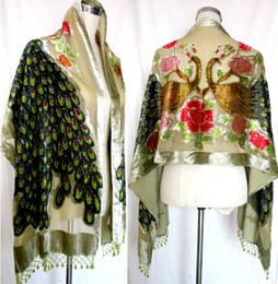 Poncho di sciarpa di seta online-Beaded Silk Velvet sensazione rayon nylon Burn Out Duster Opera Cappotto Sciarpe Scialle Sciarpa Wrap Poncho 6 pz / lotto # 1726