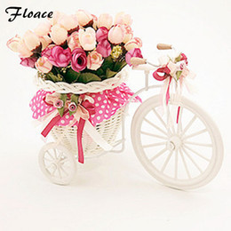 Wholesale Beautiful Flower Vases - Beautiful Tricycle High Quality Rattan Vase +Flowers Meters Spring Scenery Rose Artificial Flower Set Home Decoration