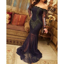Wholesale Luxurious Dresses Dubai - Sadui Arabia Sexy Evening Dresses V Neck Off Shoulder Long sleeves with Luxurious Beads Dubai Party Dresses Middle East Style