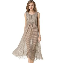 ab2e9388a3f9 Women Dress 2017 New Summer Dot Ankle-length O-neck Sleeveless Chiffon Plus  Size Party Comfortable Simple Dresses For Womens inexpensive womens simple  ...