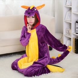 Wholesale Spyro Dragon Costume - Halloween Spyro Purple Dragon Cartoon Animal Onesies Onesie Pajama Sets Adult Unisex Fashion Cosplay Women Pyjama Pajamas