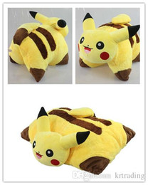 Wholesale Making Stuff - 45*33cm Poke figures PIKACHU 3D foldable cushion Soft Stuffed Animal doll pillow Cute Cartoon Pocket monster Cushion Xmas gifts