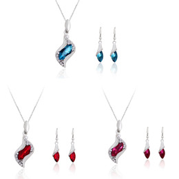 Wholesale Gold Blue Gem Earring - Crystal necklace pendant earring ear pendant fashion cheap jewelry set wave shinny necklace party jewelry set three colour gem AC018