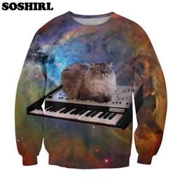 Wholesale Galaxy Cats Sweatshirts - Wholesale- SOSHIRL New Harajuku 3D Hoodie Space Cat Party Print Sweatshirt Kawaii Animal Galaxy Sweatsuits Tops Plus Size S-5XL Dropship