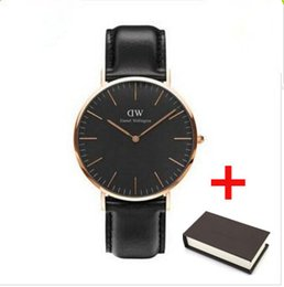 Wholesale Navy Gift Boxes - relogios clock top luxury brand dw Daniel Wellington watches fashion dw leather style 36mm rose gold mens dw watches with gift box relojes