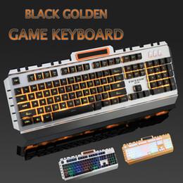 Wholesale Material Computer - Black Golden Game Keyboard 2.0mm Trigger USB Backlit LED Hard Metal Keyboards for computer with Sanding material Keyboard cap
