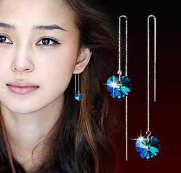 Wholesale Crystal Shape Dangle Drop Earrings - Blue Crystal Heart Shaped Tassel Dangle Earrings 925 Silver Long Drop Love Charm Earring Jewelry for Women Accessories