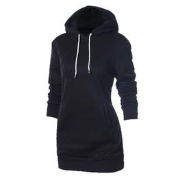 Wholesale Drawstring Dress - Autumn Winter Hoodie Long Sleeve Slim College Style Pullovers Women Jogging hoody Dress Solid Hooded Drawstring Front Pocket Sweatshirts