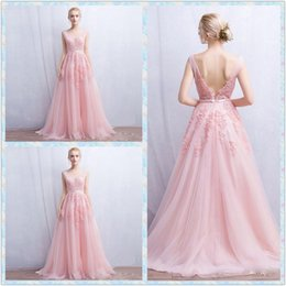 Wholesale Elie Saab Flower Dress - Elie Saab 2016 Pink Evening Dresses V Neck Sleeveless Lace Applique Backless Prom Gowns Sweep Train A Line Vintage Party Dress