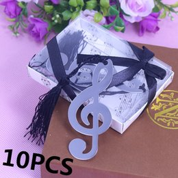 Wholesale Baby Bookmark Favors - Wholesale- 10PCS Music Notation Bookmarks Recuerdos Para Bautizo Baby Shower Souvenirs Party Favors Wedding Favors and Gifts For Guest
