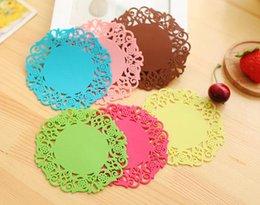 Wholesale Table Mats Design - Colorful Lace Flower Hollow Design Round Silicone Table Heat Resistant Mat Cup Coffee Coaster Cushion Placemat Pad