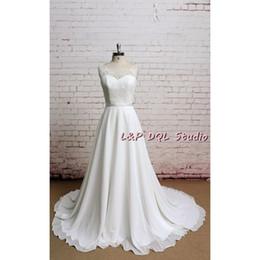 Wholesale P Wedding Dress - 2017 White Chiffon Wedding Dresses Floral lace Top BUttons Back Court Train Beach Wedding Dress Bridal Gowns L&P DQL Studio