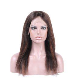 Wholesale Brown Virgin Hair Natural Straight - Mix Color Human Hair Wigs Virgin Brazilian Natural Straight Full Lace Wigs Stars Hairstyle Lace Front Wigs for Sale