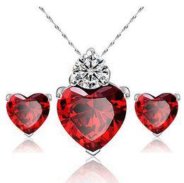 2017 JOYEN Marca Zircon Crystal Conjuntos de Joyas de Moda Corazón Colgantes Collares Stud Pendientes de Oro Blanco Plateado Rubí Conjuntos de Joyas Para mujeres desde fabricantes