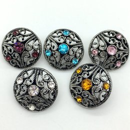 Wholesale Hollow Hook - Noosa Snap Button Rhinestone Chunk Charm Button 18mm Interchangeable Hollow Style Jewelry For Ginger Snap Bracelet Necklace Ring