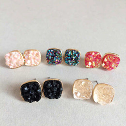 Wholesale Gold Square Stud - Fashion Drusy Druzy Stud Earrings gold Plated Square 5 Colors Irregular Rock Crystal Stone Earrings for Women Jewelry