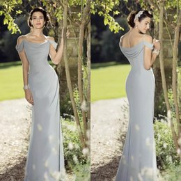 Wholesale Sheath Fitted Wedding Dresses - 2017 Design Mother of The Bride Dresses Sexy Off Shoulder Neckline with Spaghetti Fitted Silver Chiffon Wedding Guest Dresses Evening Wear