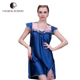 Wholesale Sexy Girls Nightgown - Wholesale-2016 Women Sleepwear Sex Lace Nightgown For Women High Quality Imitated Silk Sleepwear Sexy Dress Girls Nightgown HH706