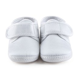 Wholesale Baby Baptism Shoes Lace - Wholesale- Delebao Pure White The Baptism Of Shoes Holy Angles Soft Sole Cotton Baby Shoes For 0-15 Months Newborn Christening Shoes