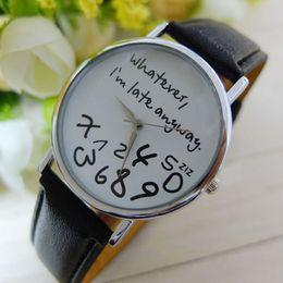 Horloges à la mode en Ligne-Montres à bas prix pour les femmes Vogue je suis en retard en tout temps lettres impression à quartz montre hommes robe heure horloge Relogio Feminino Montre Reloj #N