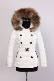 Wholesale Ladies Raccoon Fur Hood Jacket - M17 female jacket parkas for women winter Jacket Warm Down Ladies anorak women coat real raccoon fur hood parka jacket