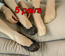 Wholesale Invisible Socks Anti - 5 pairs women's cute lace anti-slip socks female invisible socks spring summer girls cute socks for pumps black beige