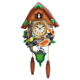Wholesale Blue Metal Wall Art - Crafts Arts Home decoration Cuckoo clock cartoon clock mute children bedroom living room wall cute bird