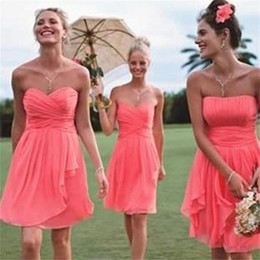 Wholesale Colored Cheap Wedding Dresses - Free Shipping Fancy Two Style Short Coral cheap bridesmaid dresses 2017 Colored Wedding Party Dresses short chiffon dresses plus