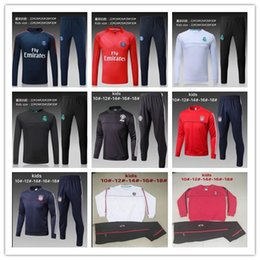 Wholesale New Kids Sportswear - KIDS Child high quality new Real Madrid Paris AC soccer sportswear training clothes 17 18 football jacket trousers suit