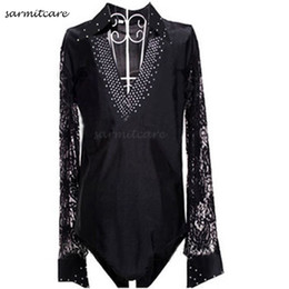 Wholesale Lace Shirts For Men - D095 - 4 Colors Male Rhinestones Lace Sleeve Latin Dance Shirt for Men Samba Dance Costumes Tango Samba Costume Dance Clothes Latin Shirts
