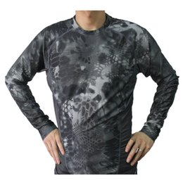Wholesale Combat Breathable - Free shipping Breathable Elastic Quick-Drying Man Outdoor Tactical Camouflage Tight Speed Dry Combat Tactical Long Sleeve T-Shirt men's Tee