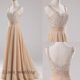 Wholesale Long Cream Prom Dresses - Free Shipping Cream Champagne Prom Dresses Sparkly Chiffon Backless Sequin Long Evening Dress Women Party Gown