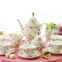 Wholesale Ceramic Stock Pots - England Style Royal Bone China 15 Pieces Coffee Sets Quality Ceramic CE EU Eco-friendly Stocked Cup And Saucer Coffee Pot