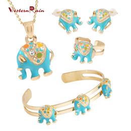 Wholesale Elephant Necklace Rhinestone - WesternRain 2017 New alloy children necklace Blue Children love elephant pendant jewelry crystal pendant fashion kid jewelry set A728BU